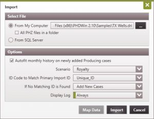 Select the DRI file you wish to import